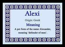 Alexi Personalised Name Meaning Mousemat