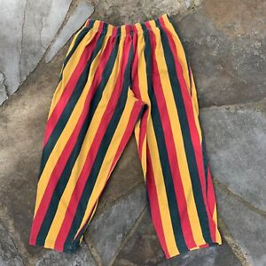 """Vintage Rasta Striped 3/4 Baggy Pants Made in USA 30x22"""" Hip Hop 1990s Rare"""