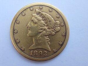 1892-CC LIBERTY HEAD HALF EAGLE $5 DOLLAR GOLD COIN CARSON CITY RARE DATE