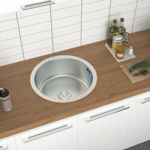 Small Round Stainless Steel Kitchen Sink Single Bowl Catering Basin Drainer
