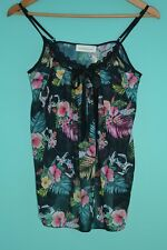 NEW - WOMEN'S PETER ALEXANDER BLACK FLORAL NIGHT & DAY TOP - SIZE M (10-12)