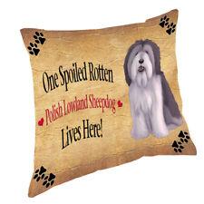 Polish Lowland Sheepdog Spoiled Rotten Dog Throw Pillow 14x14
