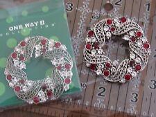 Silver Tone Red & Clear Rhinestone Wreath Pin Brooch