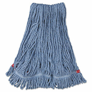 Rubbermaid Commercial Web Foot Wet Mop Head Shrinkless Cotton/Synthetic Blue