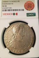 1808 Mo TH MEXICO 8 REALES FERDINAND VII NGC XF 45 SCARCE NON PROBLEM COIN