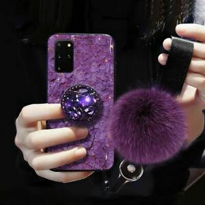 For Samsung S21 S10 S20 Note 20 10 9 Glitter Bling Diamond Cover with Ring Case