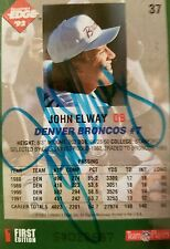 JOHN ELWAY AUTO 1992 COLLECTOR'S EDGE AUTOGRAPH CARD #37 S#023687 FIRST EDITION