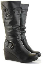 Women's Zip Wedge Heel Boots