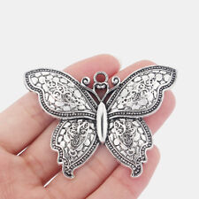 2pcs Large Antique Silver Butterfly Pendants Fashion Jewelry Findings