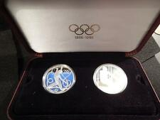1995 AUSTRIAN OLYMPIC CENTENNIAL COMMEMORATIVE .925 SILVER 2 COIN PROOF SET.