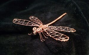 Wire Art Dragonfly Sculpture hand crafted in copper wire