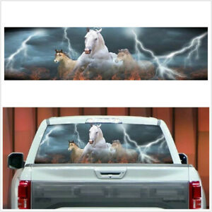 135x36CM Sticker White Running Horse Galloping Decal Fit For Car Rear Window