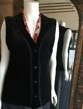 Frank Usher Black Velvet Ladies Gilet lined size UK36