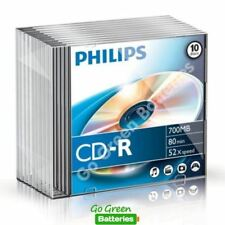 10 x Philips CD-R Blank Recordable Discs 80 Mins 700MB 52x Speed Slim Cases