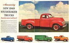1948 vintage truck AD New '49 STUDEBAKER TRUCKS RED Pickup Nice! 043017