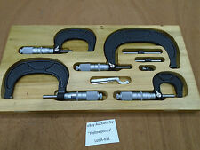 """A651 SPI 4pc Micrometer Set 0 to 4"""" .0001"""" Friction Thimble for Lathe Mill Shop"""