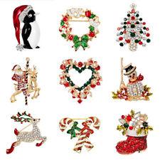 Crystal Christmas Tree Deer Santa Claus Snowman Xmas Brooch Pins Jewelry Gift