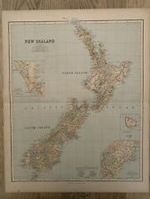 1883 NEW ZEALAND LARGE ANTIQUE MAP BY GEORGE PHILIP 69 cm x 54 cm 137 YEARS OLD