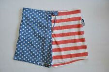 "Mens 3xl 48-50 US Flag Swim Trunks George Above The Knee 8"" Inseam Faded"