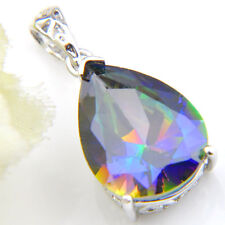 Romantic Love Heart Bluish Rainbow Mystic Topaz Gems Silver Necklace Pendants