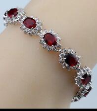 "Red Garnet White Topaz Tennis Gemstone Bracelet Bangle 925 Sterling Silver 7"""