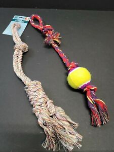 Rope Dog Ball Toy For Large Medium Dogs 20 inches long Multi-color New Red