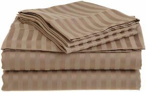 "Egyptian Cotton 800 TC Taupe Stripe  Sheet Set/Duvet/Fitted/Pillow 15"" Drop"