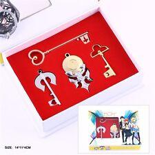 4pcs Nisekoi Ichijyo Raku Kirisaki Chitoge Key Pendant Set Necklace Keychain