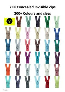 YKK Concealed Invisible Zip / 200+ Colours and Sizes / Dress Top Skirt Cushions