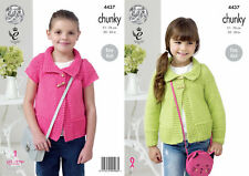 Girls Chunky Knitting Pattern King Cole Easy Knit Long Capped Sleeve Jacket 4437