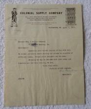 1912 ILLUSTRATED LETTERHEAD COLONIAL SUPPLY CO RAILWAY PITTSBURG PA #B5