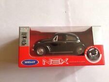 VOLKSWAGEN CLASSIC VW BEETLE in BLACK 1/38 DIECAST MODEL CAR By Welly Pull N Go.