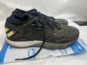 Mens Adidas Crazylight Boost Low 2016 Basketball Sneaker James Harden Black Gold