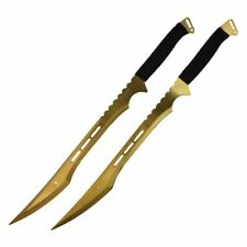 "27"" Dual Full Tang Blade Gold Ninja Sword Machete"