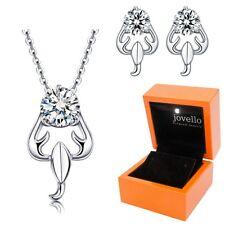 Schmuckset aus 925 Silber Sternzeichen Skorpion Halskette Ohrstecker + LED Box