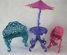 Monster High Scaris City Cafe Dollhouse Furniture Chair Bench Umbrella Table lot