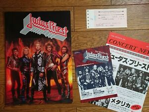 JUDAS PRIEST 1986 JAPAN TOUR Tour Book Concert Program w/ Ticket Stub & 2 Flyer