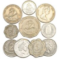 10 COINS FROM EAST CARIBBEAN STATES (OECS) OLD COLLECTIBLE COINS DOLLAR CENTS