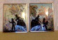 Vintage Silhouette. Matching Reverse Silhouettes on Glass Set. Scenic Background
