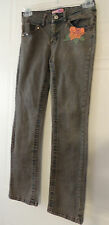 Girls Blue w/Brown Tone Skinny Jeans Just A Girl Size 10 Orange Flowers Cute!!!!