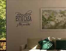 BENDICE ESTA CASA-Spanish wall decal quotes art #1033