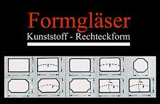FORMGLAS für alte Armband-Uhren: Kunststoff - RECHTECK-FORM - AUSWAHL Uhrgläser
