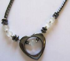 Fashion Necklace -Hematite- heart pendant white beads-gray shade