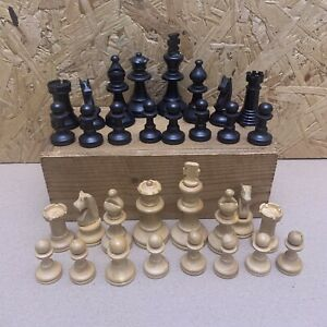 Vintage Wood Chess Set in Wooden Slide Lid Box