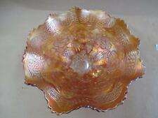 Carnival glass, footed bowl, marigold, water lilies, large, vintage