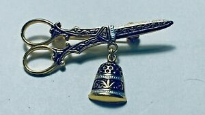 Spain   Damascene Jewelry Pin of Scissors and a Thimble