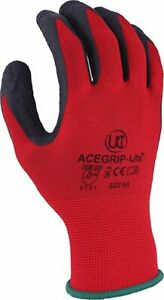 UCi Acegrip Lite Gloves Ideal for Builders Construction Gardening in Red
