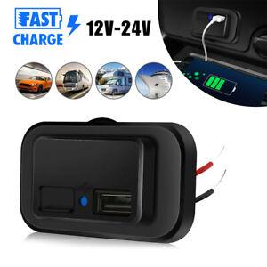 12V - 24V 4.8A Dual USB Port Car Fast Charger Socket Power Outlet LED Waterproof