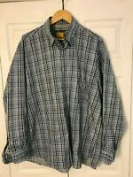 Robert Talbott Carmel Blue White Plaid Shirt Size XL Button Front Long Sleeve