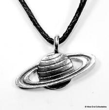 Planet Saturn Pewter Charm Pendant Necklace - UK Made - Solar System Astronomy